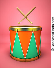 Drum and drumsticks on pink background