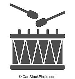 Drum and sticks solid icon. Music instrument vector illustration isolated on white. Rhythm glyph style design, designed for web and app. Eps 10.