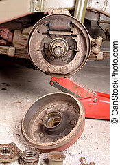drum brake removed - a drum brake jeep disassembled in a...