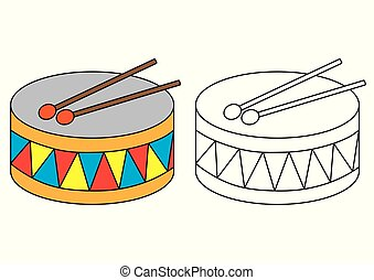 Drum. Coloring page. Educational game for preschool children.