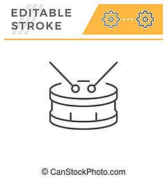 Drum editable stroke line icon isolated on white. Vector illustration