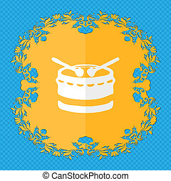 drum. Floral flat design on a blue abstract background with place for your text.