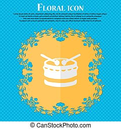 drum. Floral flat design on a blue abstract background with place for your text. Vector