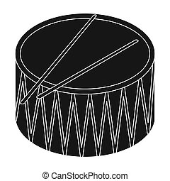 Drum icon in black style isolated on white background. Musical instruments symbol stock bitmap, rastr illustration.