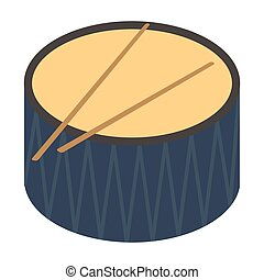 Drum icon in cartoon style isolated on white background. Musical instruments symbol stock vector illustration.