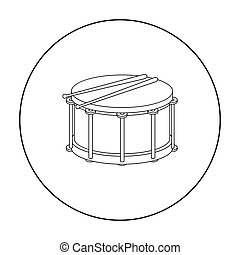 Drum icon in outline style isolated on white background. Musical instruments symbol stock vector illustration