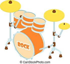 Drum icon, isometric style