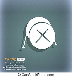 Drum icon. On the blue-green abstract background with shadow and space for your text. Vector