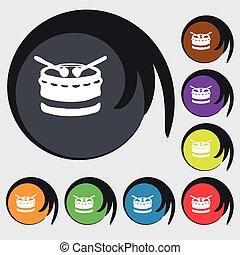 drum icon sign. Symbol on eight colored buttons. Vector