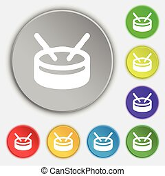 drum icon sign. Symbol on five flat buttons. Vector