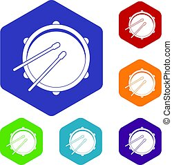 Drum icons set hexagon