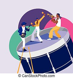 Drum instrument and musicians vector design