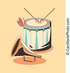 drum and trumpet instruments over yellow background, vector illustration
