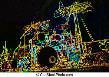 drum kit abstract - digitized abstract of a music stage with...