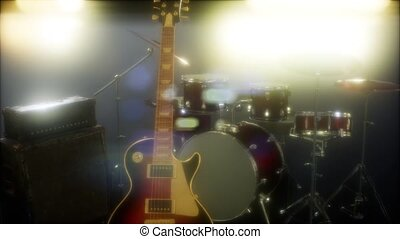 Drum kit and guitar in subdued stage lighting.