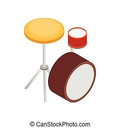 Drum kit icon, isometric 3d style
