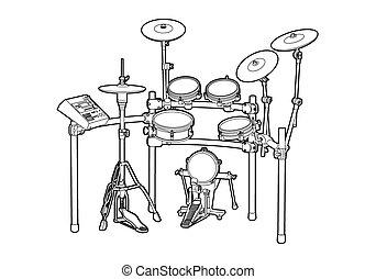Drum kit - Illustration of a drum kit on white background