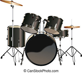 Drum Kit Isolated On White Background Drawings