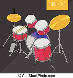 drum kit isometric vector illustration