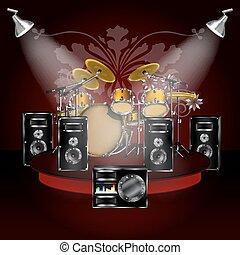 drum kit on the podium with loudspeakers