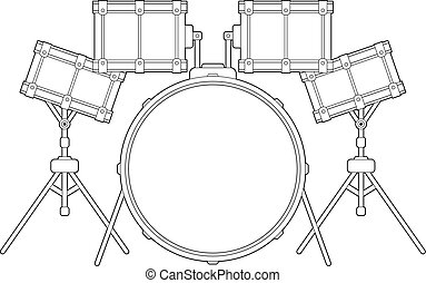 Drum Kit Outline - Cartoon Drum Kit Line Drawing Vector ...