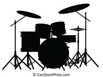 Drum Kit - Silhouette of a rock bands drum kit isolated on...