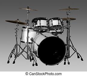 Drum kit - white drum kit in grey gradient back