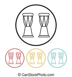 Drum Line Icon Clip Art Vector