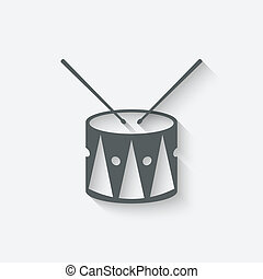 drum music icon - vector illustration. eps 10
