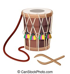 Drum percussion instrument double-headed dhol and wooden...