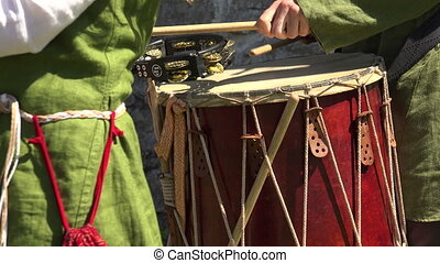 Drum. Percussion instrument. Shot in 4K (ultra-high...