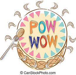 Illustration of a Native Pow Wow Drum with Drumstick