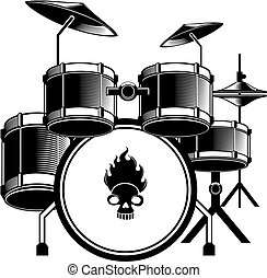 A image of a black and white drum kit complete with cymbals