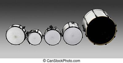 Drum set - set of white drums in grey gradient back