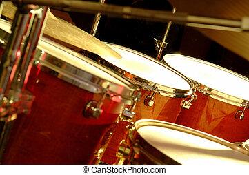 Drum set during performance of music band - Drum Set during...