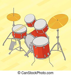 Drum set flat isometric illustration