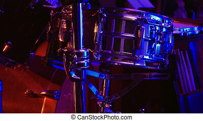 Drum set in the stage