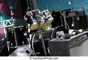 Drum set, musical instrument on a street concert