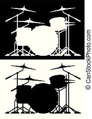 Very sharp and clean drum set design isolated silhouette vector illustration in both black and white versions isolated for easy editing