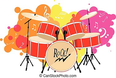 drum set - Decorative graphic vector illustration of a drum...
