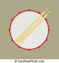 Drum - Snare drum and drumsticks
