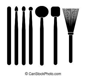 drum stick - silhouette - suitable for illustrations