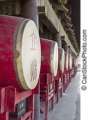 Drum Tower in Xian China - Drums lined up at Drum Tower main...