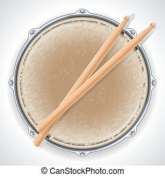 Drum - Vector illustration - drum and drumsticks