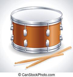 Drum - Vector illustration - drum and drumsticks