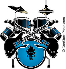 drum with cymbals - A image of a blue drum kit complete with...