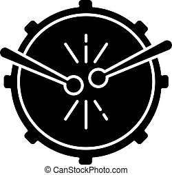 drum with drumsticks black glyph icon. View from above. Musical instrument. Brazilian carnival. Festive drum parade. National festival. Silhouette symbol on white space. Vector isolated illustration