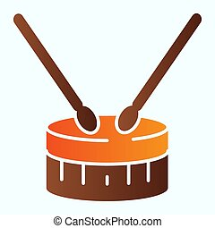 Drum with drumsticks flat icon. Percussion musical instrument vector illustration isolated on white. Festive march gradient style design, designed for web and app. Eps 10