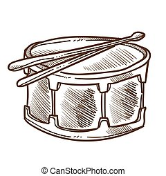 Drum with drumsticks isolated sketch, percussion or musical instrument