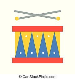 Drum with drumsticks vector icon, amusement park related flat style